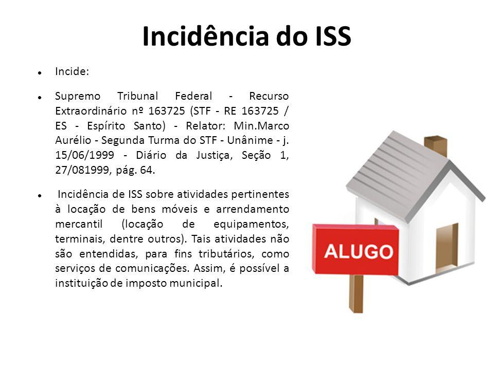 Incidência do ISS Incide: Supremo Tribunal Federal - Recurso Extraordinário nº 163725 (STF - RE 163725 / ES - Espírito Santo) - Relator: Min.Marco Aur