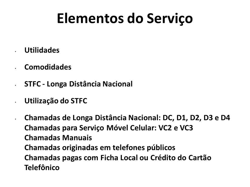 Elementos do Serviço Utilidades Comodidades STFC - Longa Distância Nacional Utilização do STFC Chamadas de Longa Distância Nacional: DC, D1, D2, D3 e
