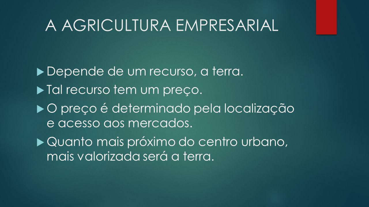 A AGRICULTURA EMPRESARIAL  Depende de um recurso, a terra.  Tal recurso tem um preço.  O preço é determinado pela localização e acesso aos mercados