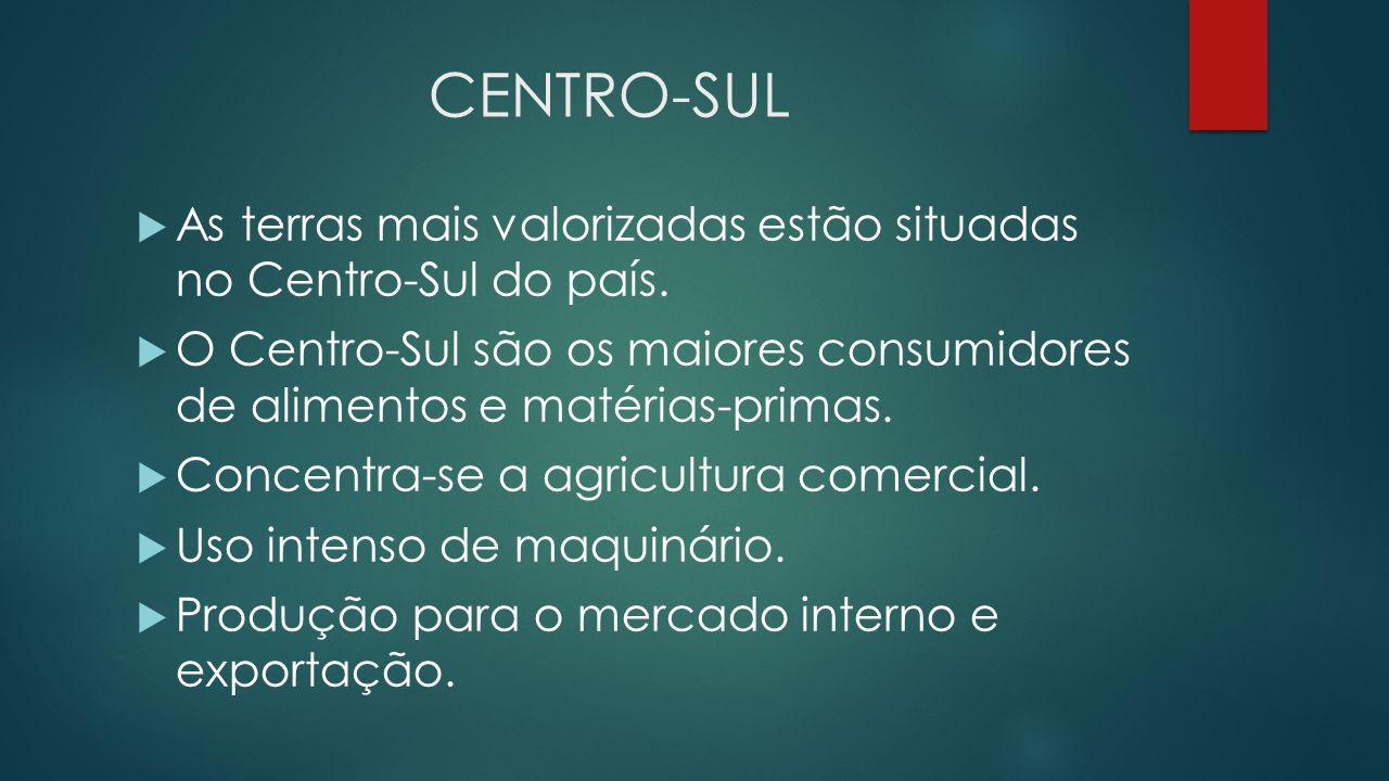 CENTRO-SUL  As terras mais valorizadas estão situadas no Centro-Sul do país.  O Centro-Sul são os maiores consumidores de alimentos e matérias-prima