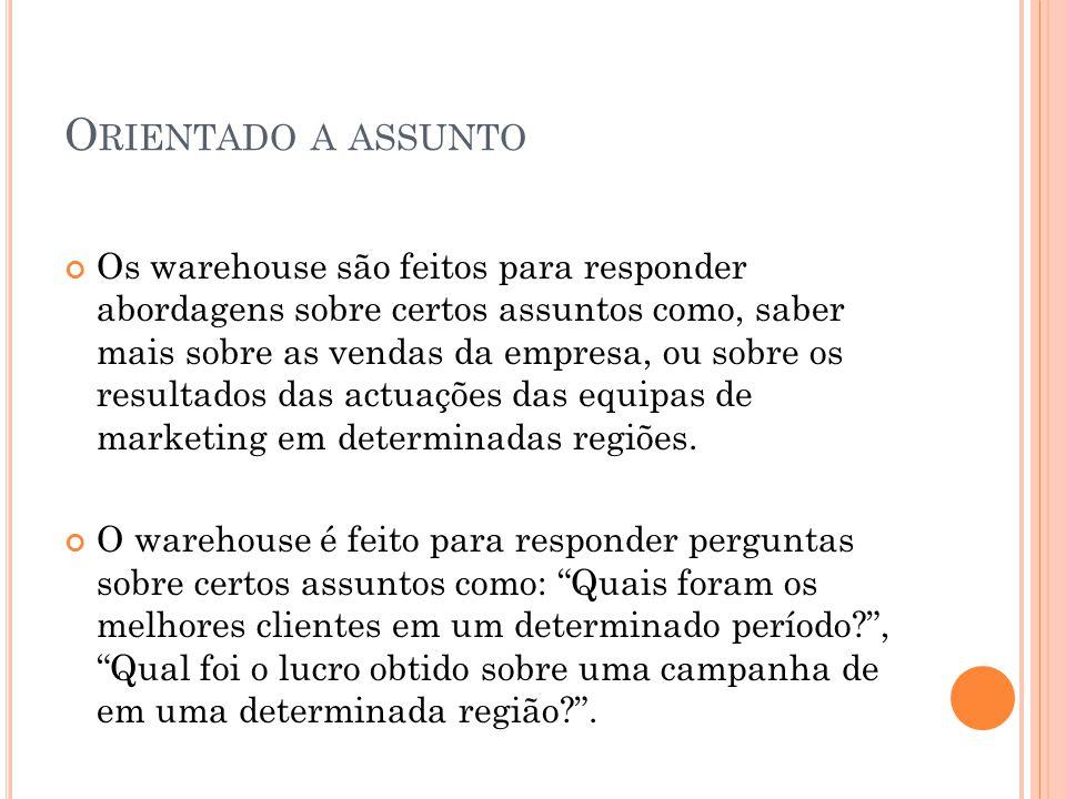O RIENTADO A ASSUNTO Os warehouse são feitos para responder abordagens sobre certos assuntos como, saber mais sobre as vendas da empresa, ou sobre os resultados das actuações das equipas de marketing em determinadas regiões.