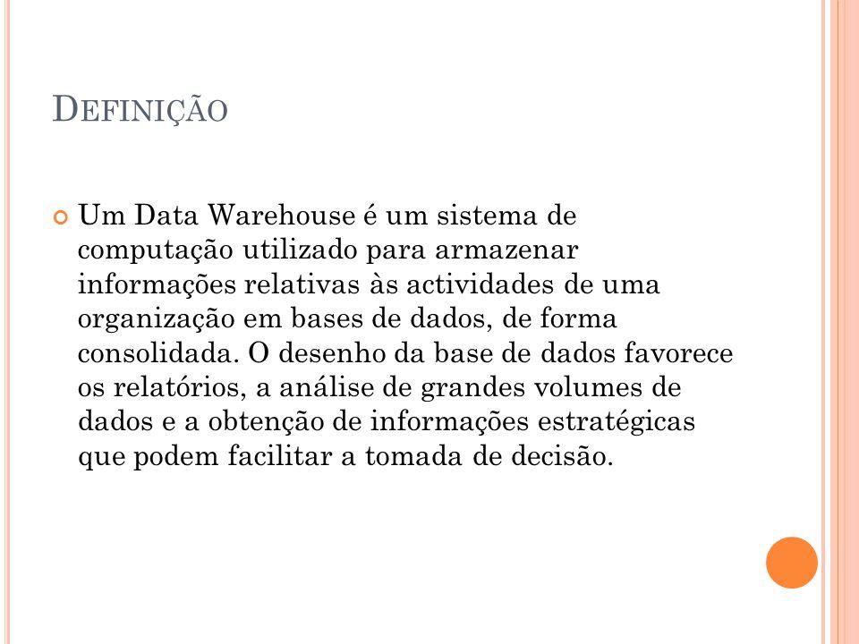 D EFINIÇÃO Um Data Warehouse é um sistema de computação utilizado para armazenar informações relativas às actividades de uma organização em bases de dados, de forma consolidada.