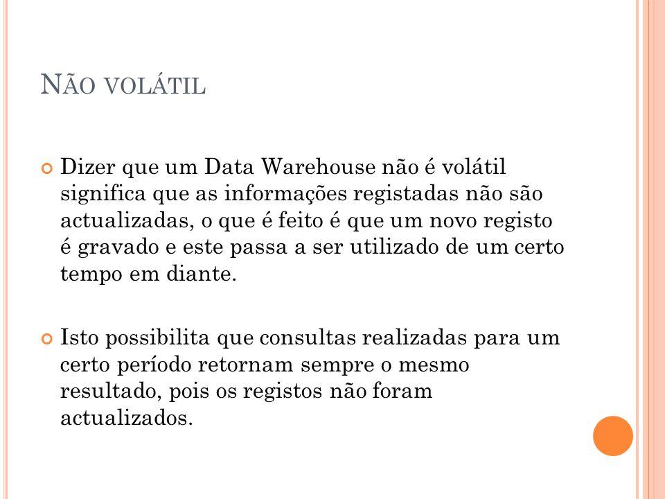 N ÃO VOLÁTIL Dizer que um Data Warehouse não é volátil significa que as informações registadas não são actualizadas, o que é feito é que um novo registo é gravado e este passa a ser utilizado de um certo tempo em diante.