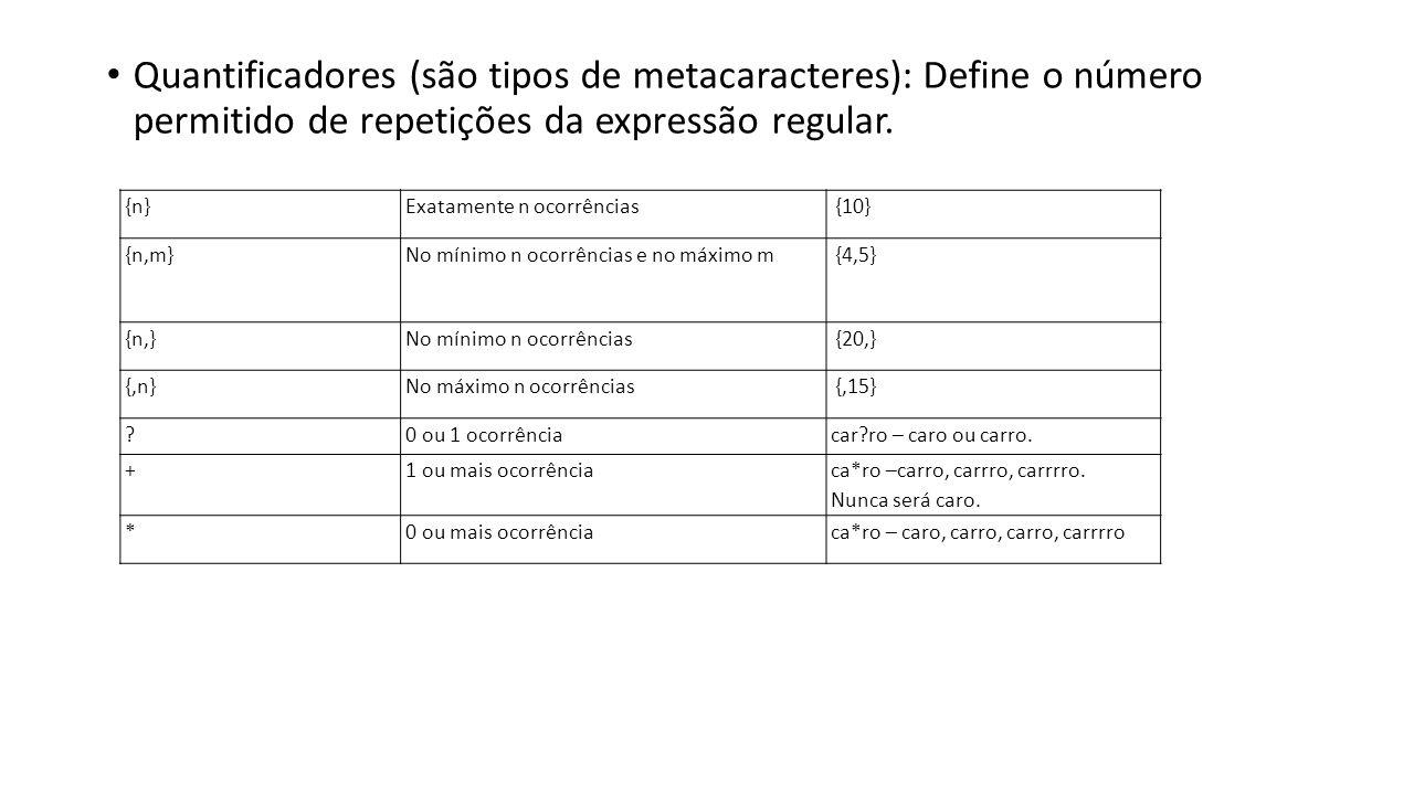 Quantificadores (são tipos de metacaracteres): Define o número permitido de repetições da expressão regular.