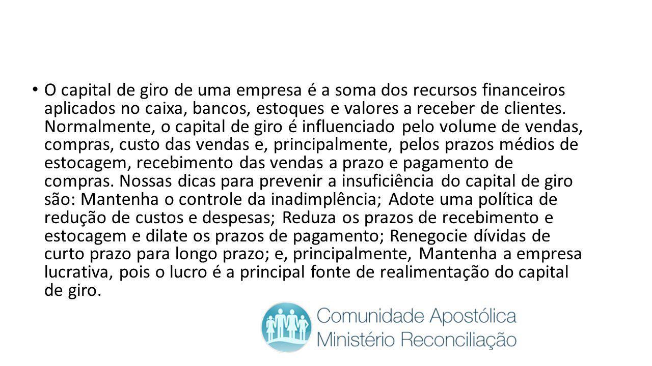 O capital de giro de uma empresa é a soma dos recursos financeiros aplicados no caixa, bancos, estoques e valores a receber de clientes. Normalmente,