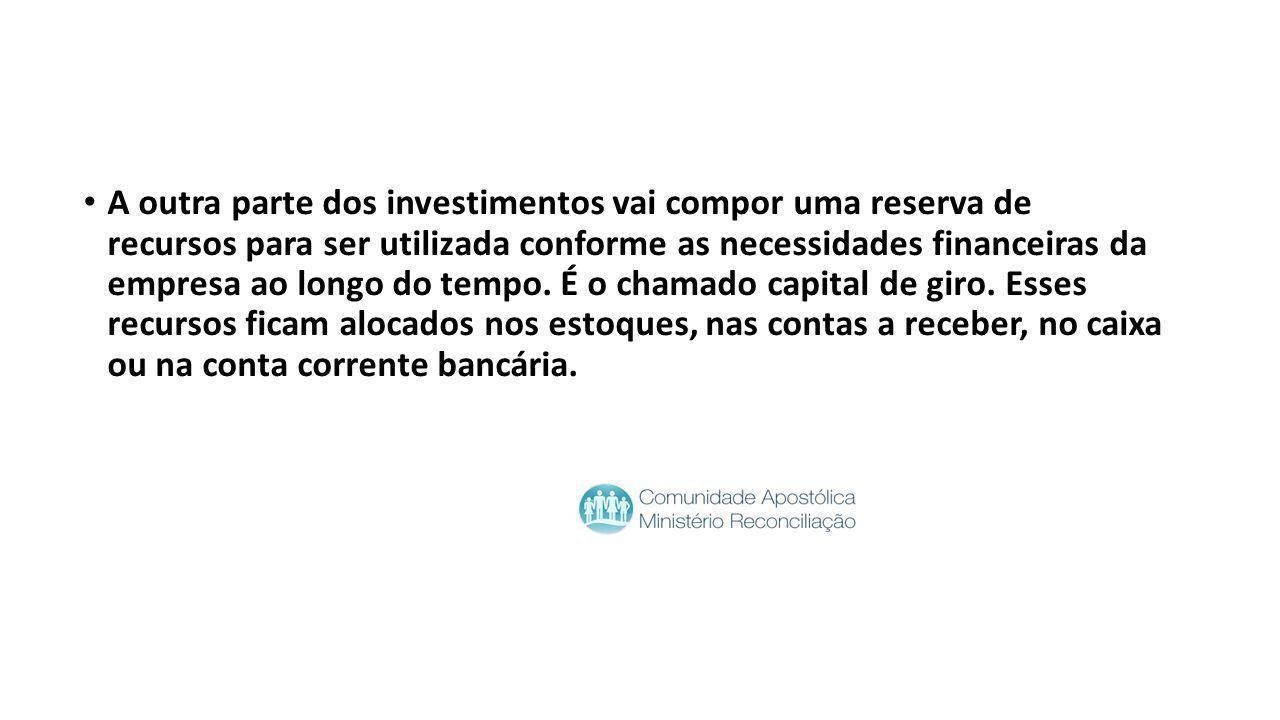 A outra parte dos investimentos vai compor uma reserva de recursos para ser utilizada conforme as necessidades financeiras da empresa ao longo do temp