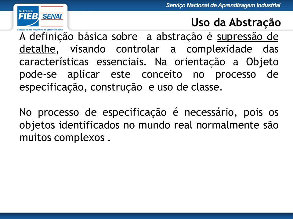 A definição básica sobre a abstração é supressão de detalhe, visando controlar a complexidade das características essenciais.