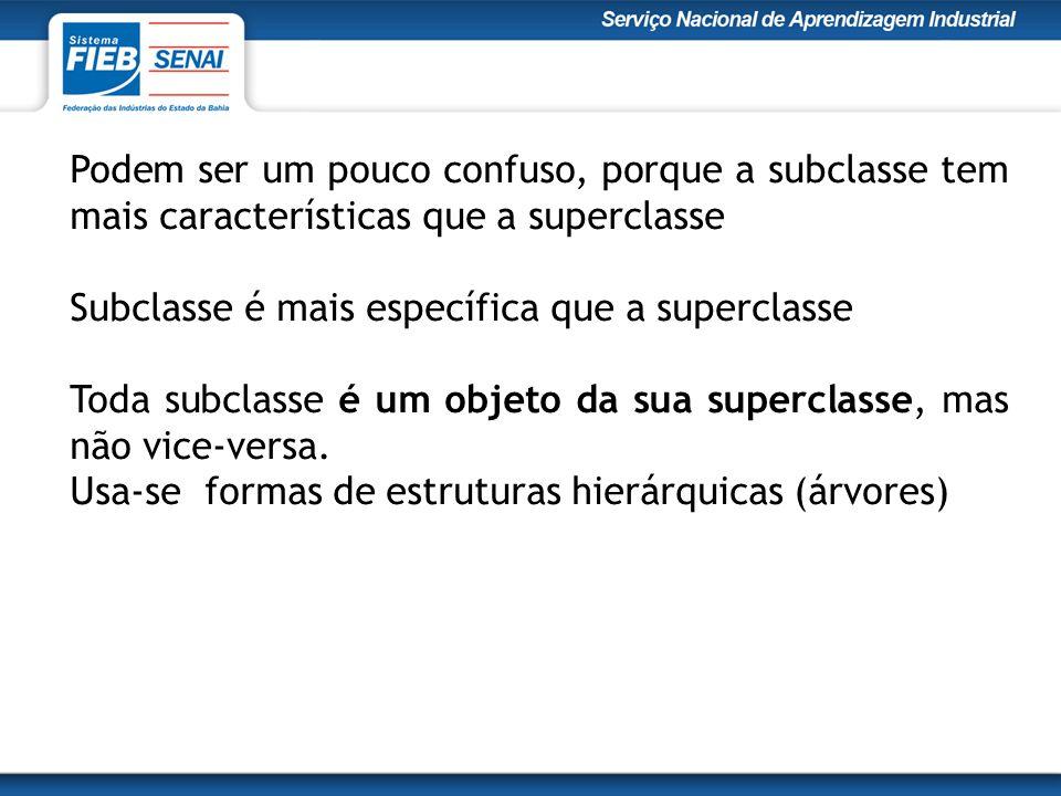 Podem ser um pouco confuso, porque a subclasse tem mais características que a superclasse Subclasse é mais específica que a superclasse Toda subclasse é um objeto da sua superclasse, mas não vice-versa.