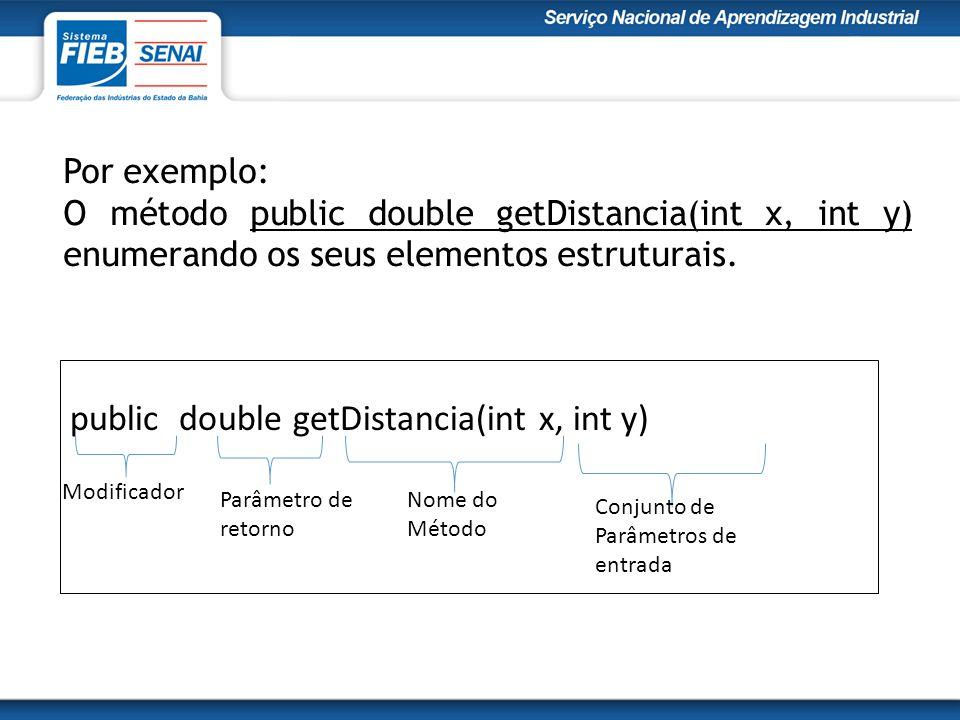 Por exemplo: O método public double getDistancia(int x, int y) enumerando os seus elementos estruturais.