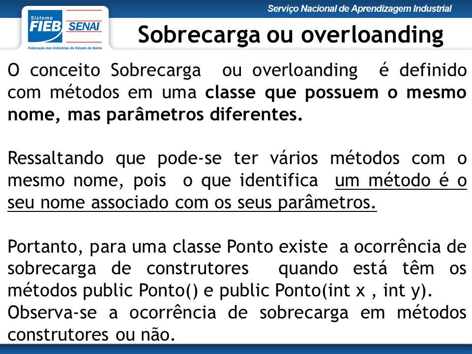 O conceito Sobrecarga ou overloanding é definido com métodos em uma classe que possuem o mesmo nome, mas parâmetros diferentes.