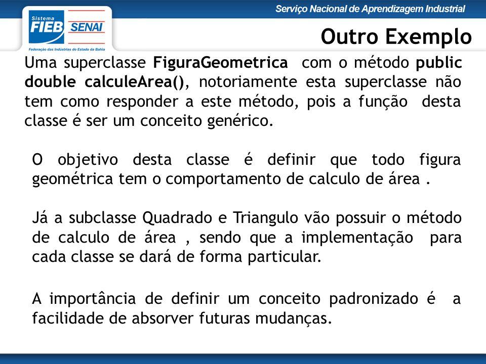 Uma superclasse FiguraGeometrica com o método public double calculeArea(), notoriamente esta superclasse não tem como responder a este método, pois a função desta classe é ser um conceito genérico.