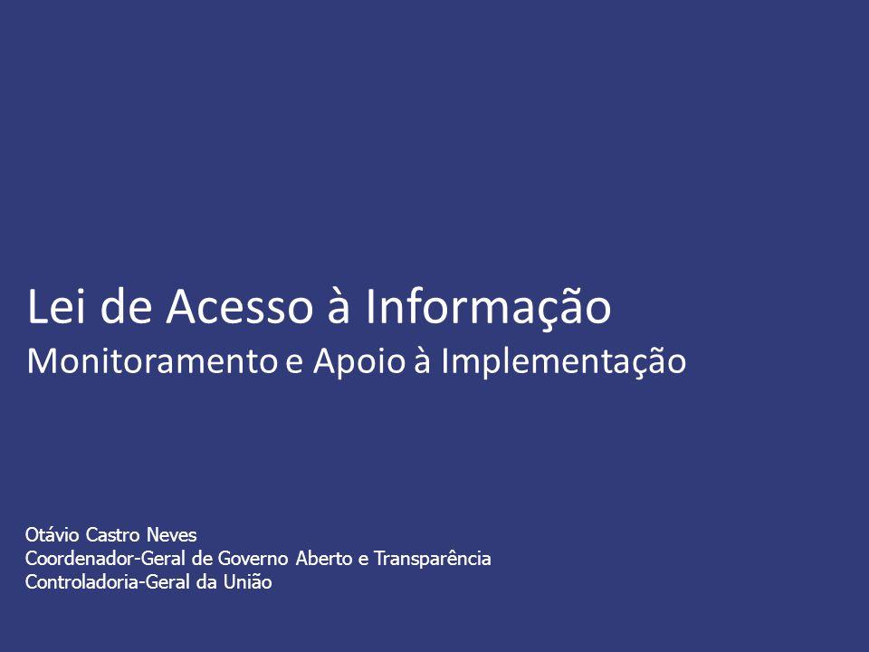 Lei de Acesso à Informação Monitoramento e Apoio à Implementação Otávio Castro Neves Coordenador-Geral de Governo Aberto e Transparência Controladoria-Geral da União