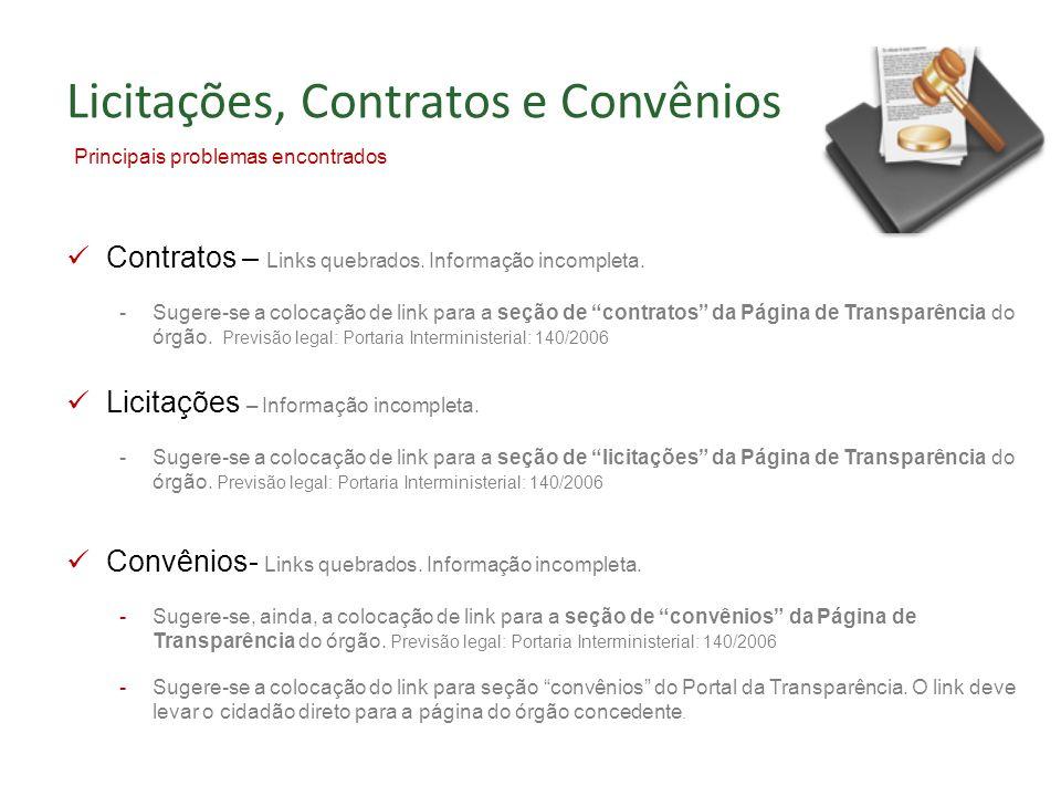 Contratos – Links quebrados. Informação incompleta.