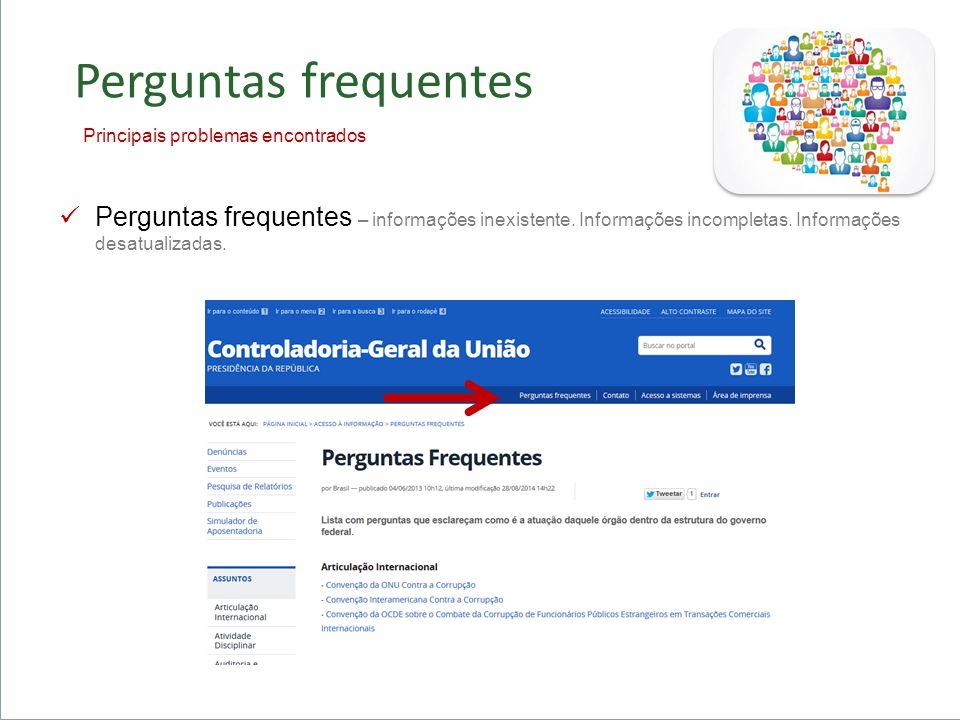 Importância do Acesso à Informação + Controle Social Acesso a Serviços Público Consolidação da Democracia Perguntas frequentes Perguntas frequentes – informações inexistente.