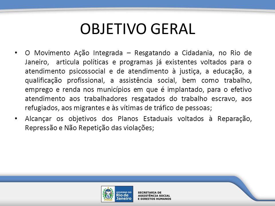 OBJETIVO GERAL O Movimento Ação Integrada – Resgatando a Cidadania, no Rio de Janeiro, articula políticas e programas já existentes voltados para o at