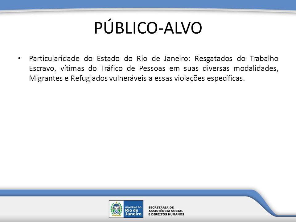 PÚBLICO-ALVO Particularidade do Estado do Rio de Janeiro: Resgatados do Trabalho Escravo, vítimas do Tráfico de Pessoas em suas diversas modalidades,