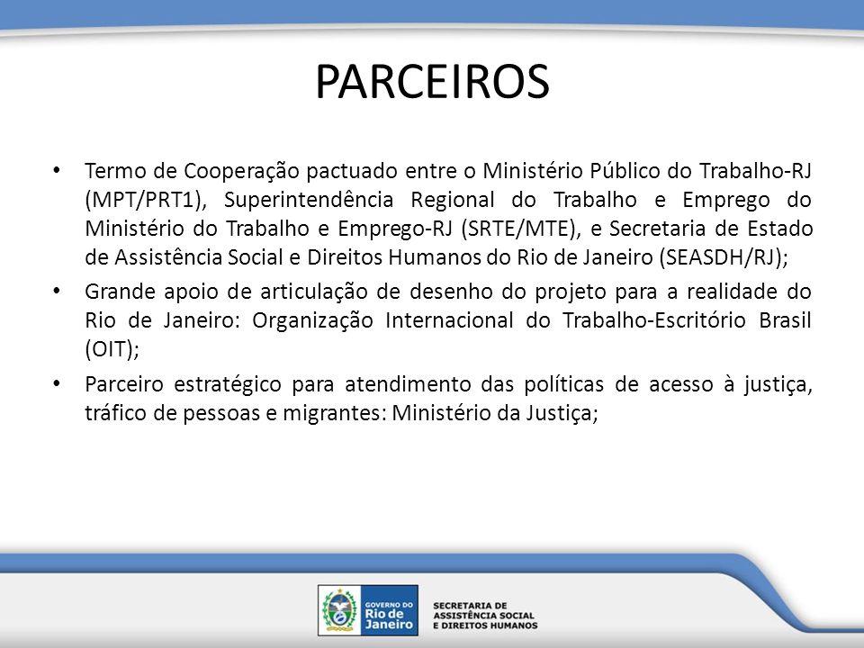 PARCEIROS Termo de Cooperação pactuado entre o Ministério Público do Trabalho-RJ (MPT/PRT1), Superintendência Regional do Trabalho e Emprego do Minist