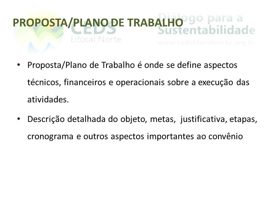 PROPOSTA/PLANO DE TRABALHO Proposta/Plano de Trabalho é onde se define aspectos técnicos, financeiros e operacionais sobre a execução das atividades.