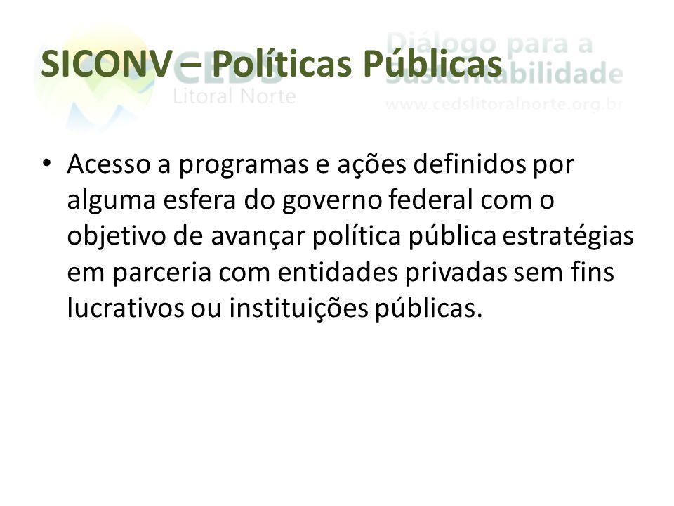 SICONV – Políticas Públicas Acesso a programas e ações definidos por alguma esfera do governo federal com o objetivo de avançar política pública estra
