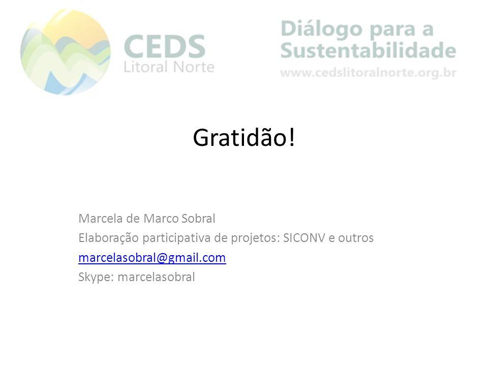 Gratidão! Marcela de Marco Sobral Elaboração participativa de projetos: SICONV e outros marcelasobral@gmail.com Skype: marcelasobral