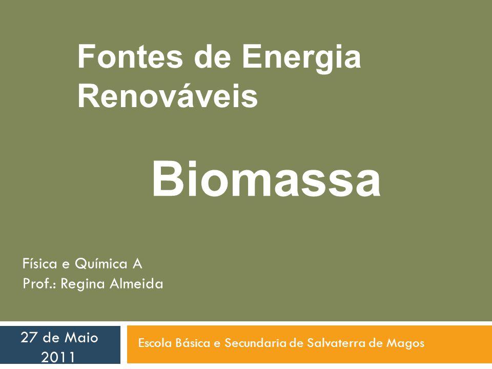 Fontes de Energia Renováveis Biomassa Escola Básica e Secundaria de Salvaterra de Magos 27 de Maio 2011 Física e Química A Prof.: Regina Almeida