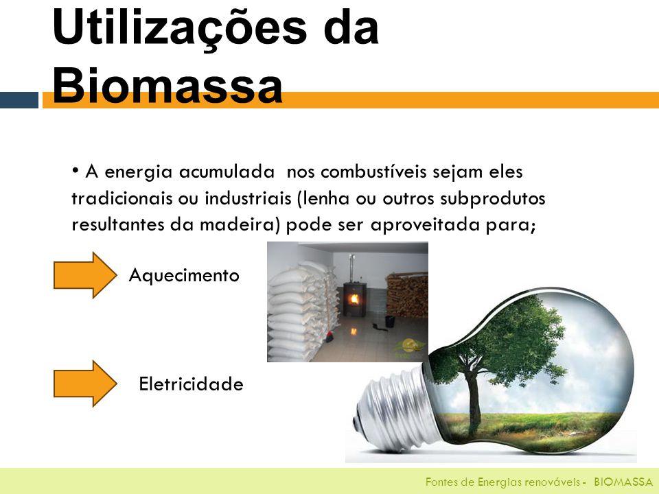 Fontes de Energias renováveis - BIOMASSA A energia acumulada nos combustíveis sejam eles tradicionais ou industriais (lenha ou outros subprodutos resultantes da madeira) pode ser aproveitada para; Utilizações da Biomassa Aquecimento Eletricidade