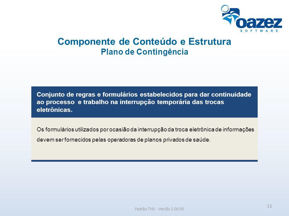 Componente de Conteúdo e Estrutura Plano de Contingência Padrão TISS - Versão 3.00.00 Conjunto de regras e formulários estabelecidos para dar continui