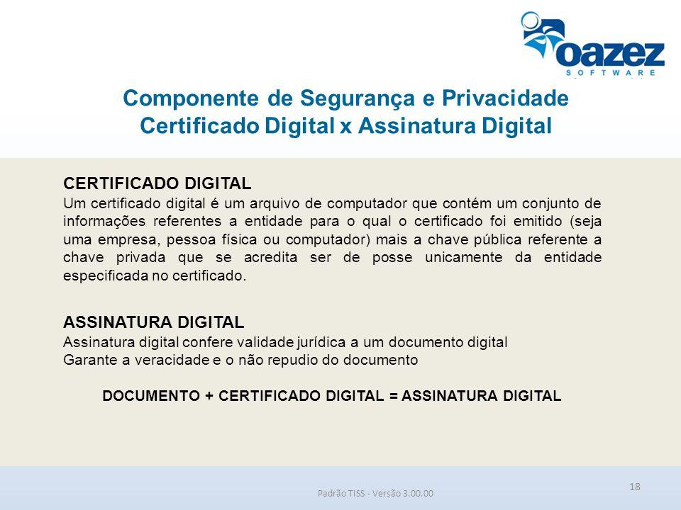 Componente de Segurança e Privacidade Certificado Digital x Assinatura Digital Padrão TISS - Versão 3.00.00 18 CERTIFICADO DIGITAL Um certificado digi