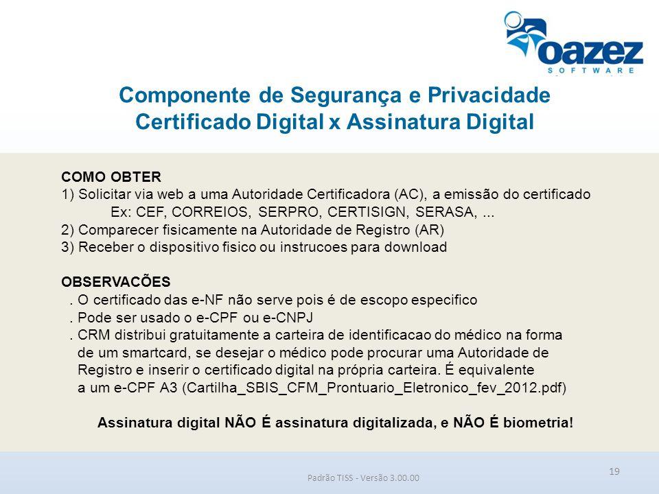 Componente de Segurança e Privacidade Certificado Digital x Assinatura Digital Padrão TISS - Versão 3.00.00 19 COMO OBTER 1) Solicitar via web a uma A