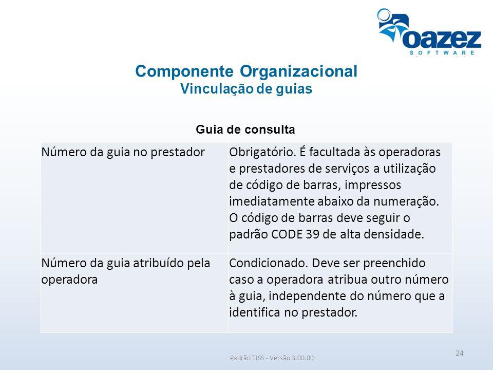 Padrão TISS - Versão 3.00.00 Guia de consulta Componente Organizacional Vinculação de guias 24 Número da guia no prestadorObrigatório. É facultada às