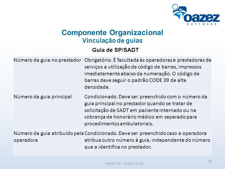 Padrão TISS - Versão 3.00.00 Guia de SP/SADT Componente Organizacional Vinculação de guias 30 Número da guia no prestadorObrigatório. É facultada às o