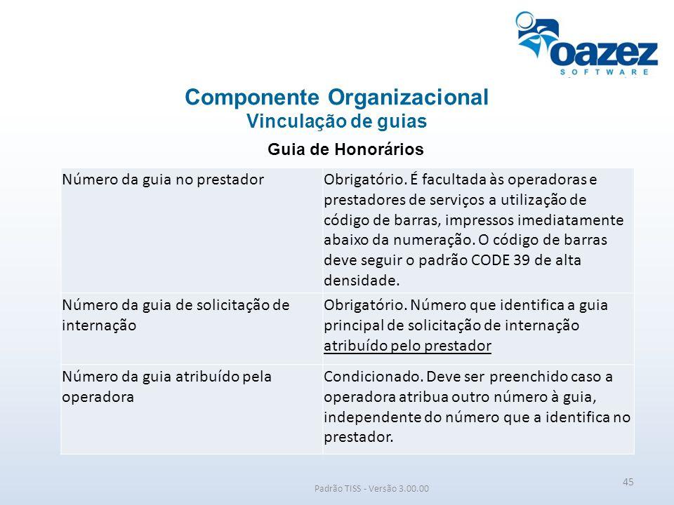 Padrão TISS - Versão 3.00.00 Guia de Honorários Componente Organizacional Vinculação de guias 45 Número da guia no prestadorObrigatório. É facultada à