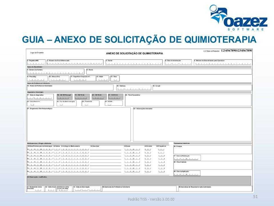 GUIA – ANEXO DE SOLICITAÇÃO DE QUIMIOTERAPIA Padrão TISS - Versão 3.00.00 51