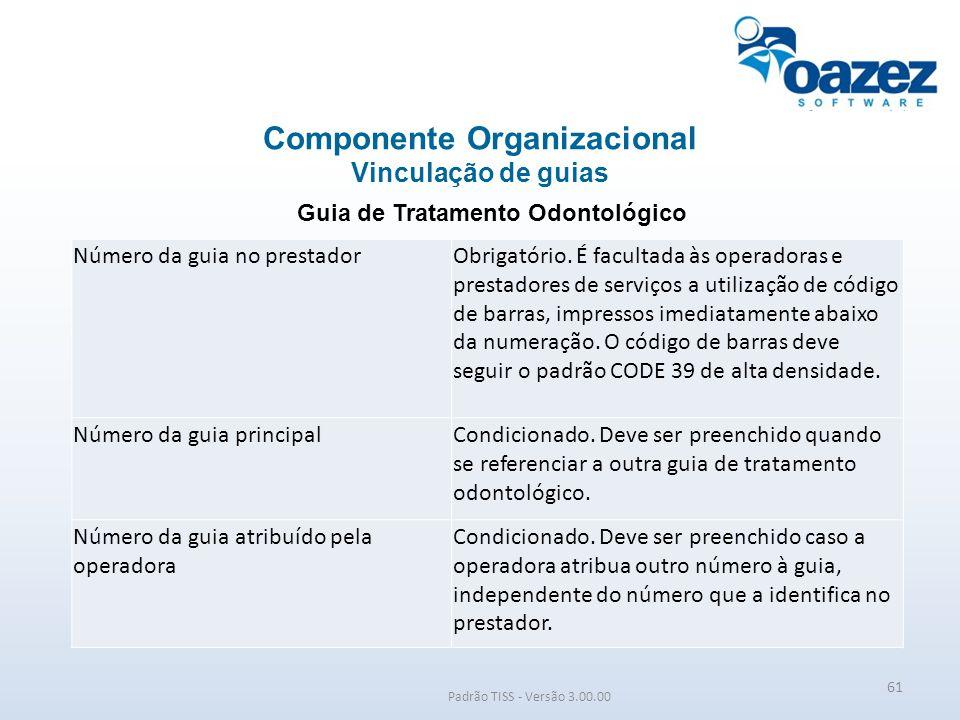 Padrão TISS - Versão 3.00.00 Guia de Tratamento Odontológico Componente Organizacional Vinculação de guias 61 Número da guia no prestadorObrigatório.