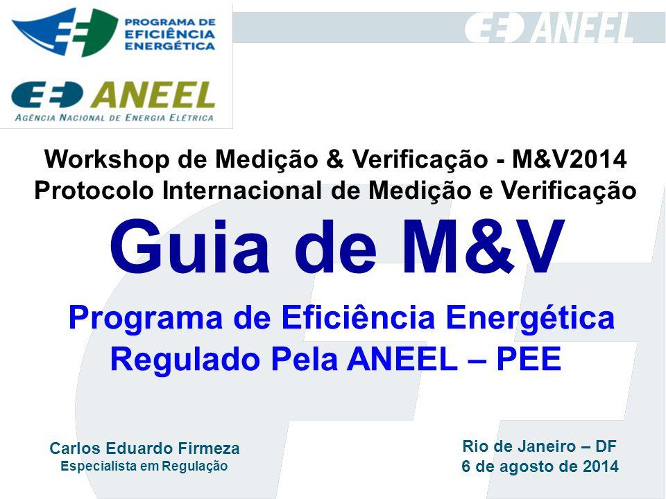 Guia de M&V Programa de Eficiência Energética Regulado Pela ANEEL – PEE Workshop de Medição & Verificação - M&V2014 Protocolo Internacional de Medição