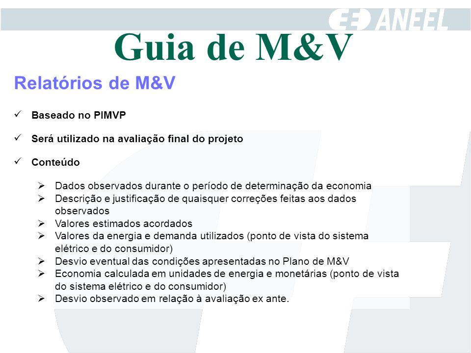 Relatórios de M&V Baseado no PIMVP Será utilizado na avaliação final do projeto Conteúdo  Dados observados durante o período de determinação da econo