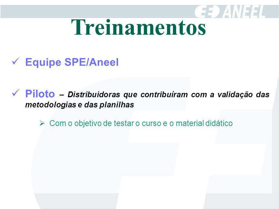 Equipe SPE/Aneel Piloto – Distribuidoras que contribuíram com a validação das metodologias e das planilhas  Com o objetivo de testar o curso e o mate