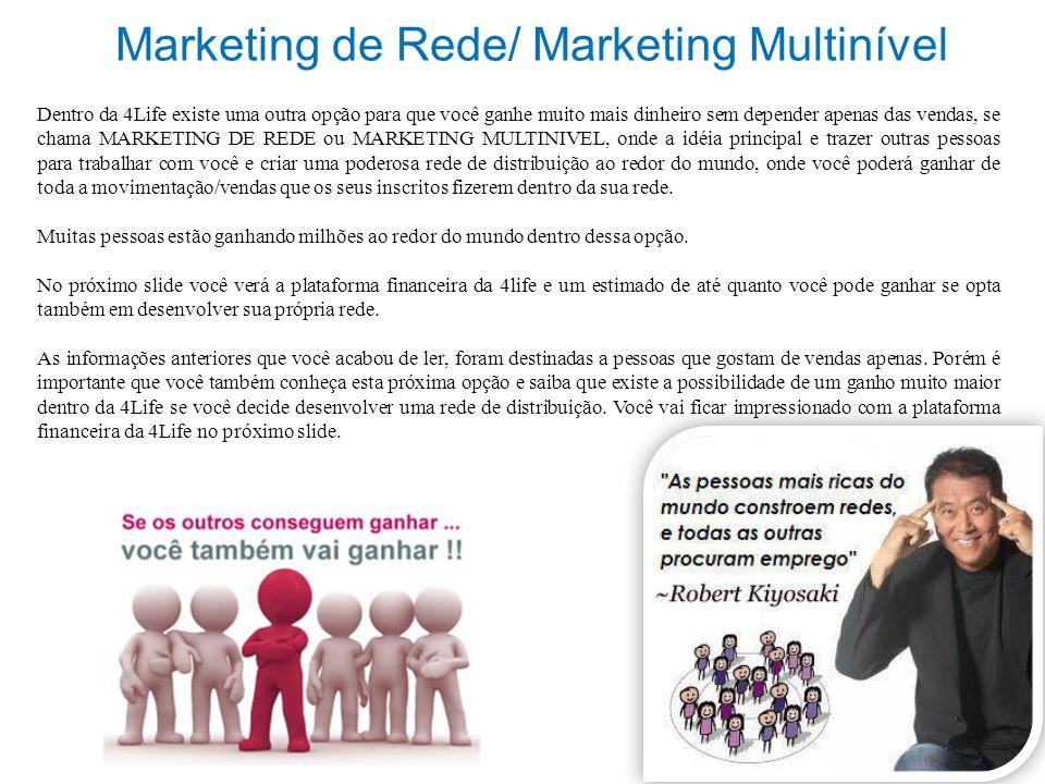 Marketing de Rede/ Marketing Multinível Dentro da 4Life existe uma outra opção para que você ganhe muito mais dinheiro sem depender apenas das vendas,