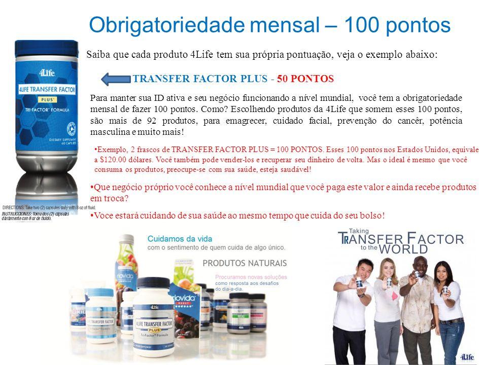Obrigatoriedade mensal – 100 pontos Saiba que cada produto 4Life tem sua própria pontuação, veja o exemplo abaixo: TRANSFER FACTOR PLUS - 50 PONTOS Pa