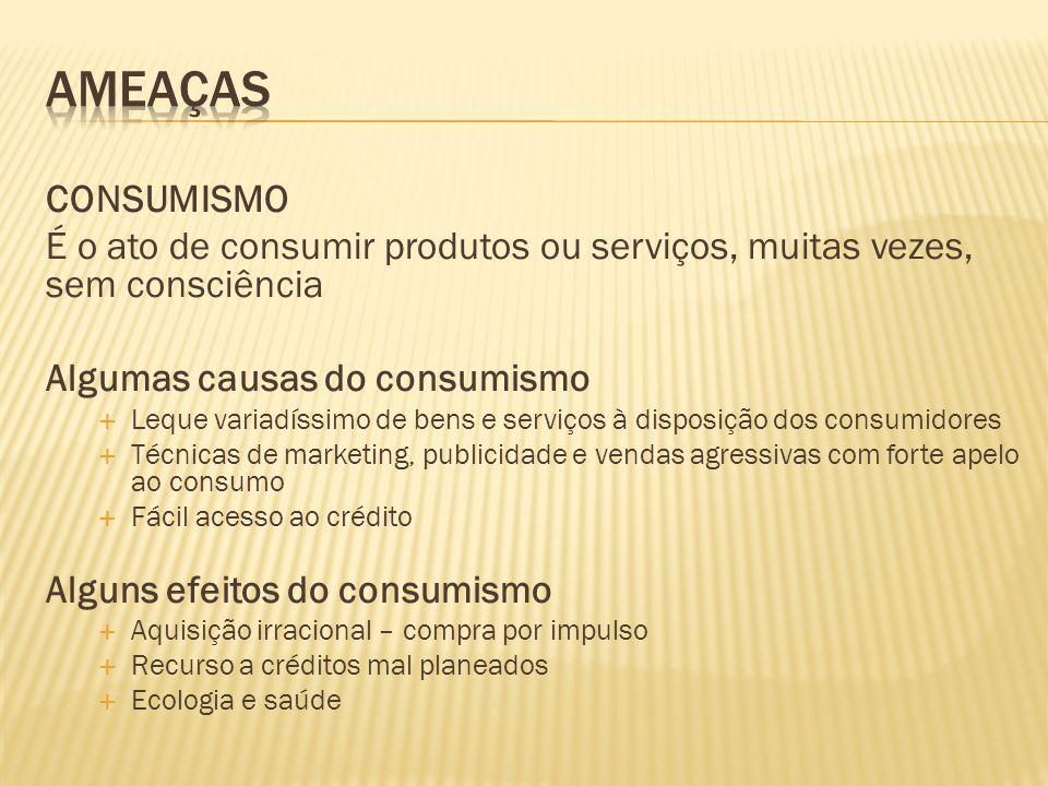 CONSUMISMO É o ato de consumir produtos ou serviços, muitas vezes, sem consciência Algumas causas do consumismo  Leque variadíssimo de bens e serviço