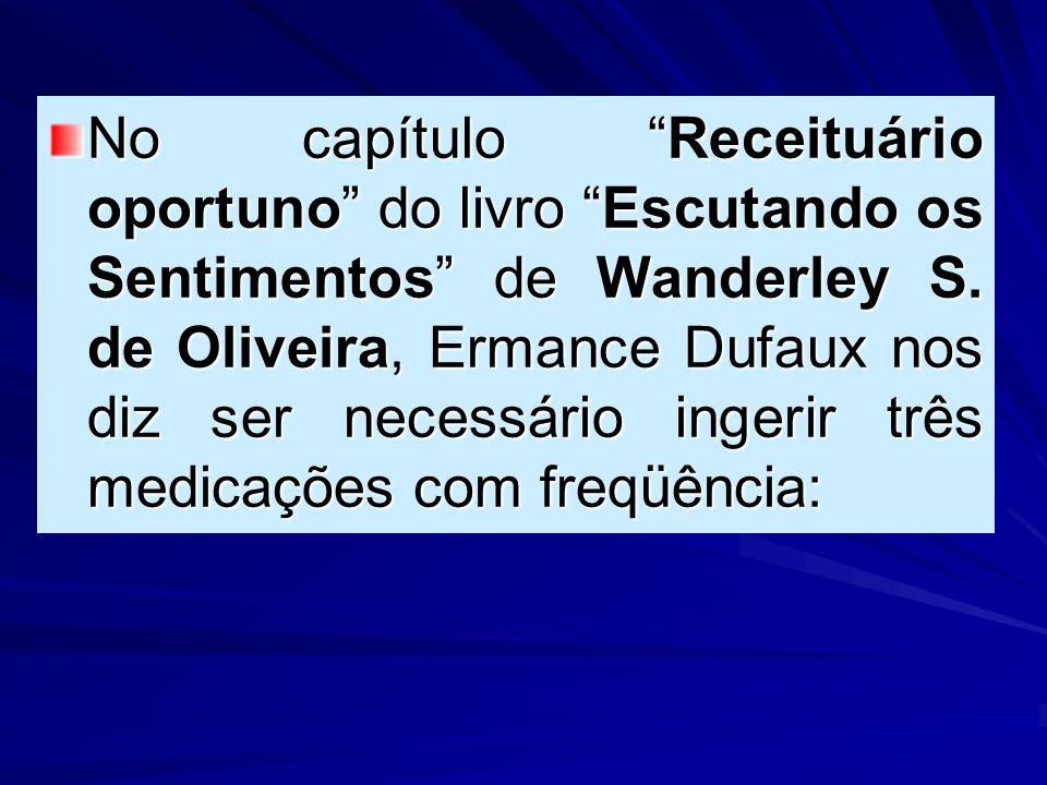 """No capítulo """"Receituário oportuno"""" do livro """"Escutando os Sentimentos"""" de Wanderley S. de Oliveira, Ermance Dufaux nos diz ser necessário ingerir três"""