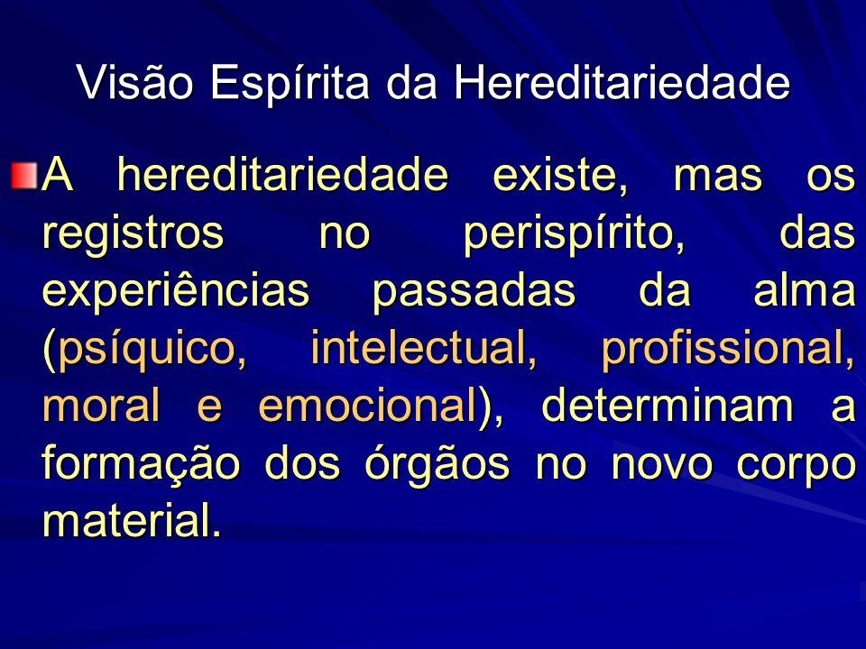A hereditariedade existe, mas os registros no perispírito, das experiências passadas da alma (psíquico, intelectual, profissional, moral e emocional),