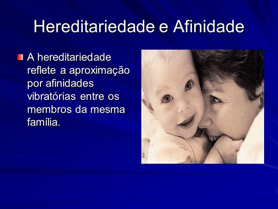 Hereditariedade e Afinidade A hereditariedade reflete a aproximação por afinidades vibratórias entre os membros da mesma família.