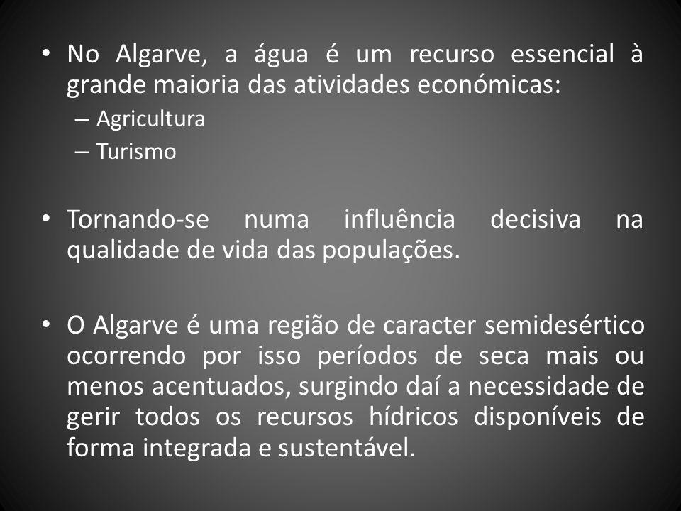 No Algarve, a água é um recurso essencial à grande maioria das atividades económicas: – Agricultura – Turismo Tornando-se numa influência decisiva na qualidade de vida das populações.