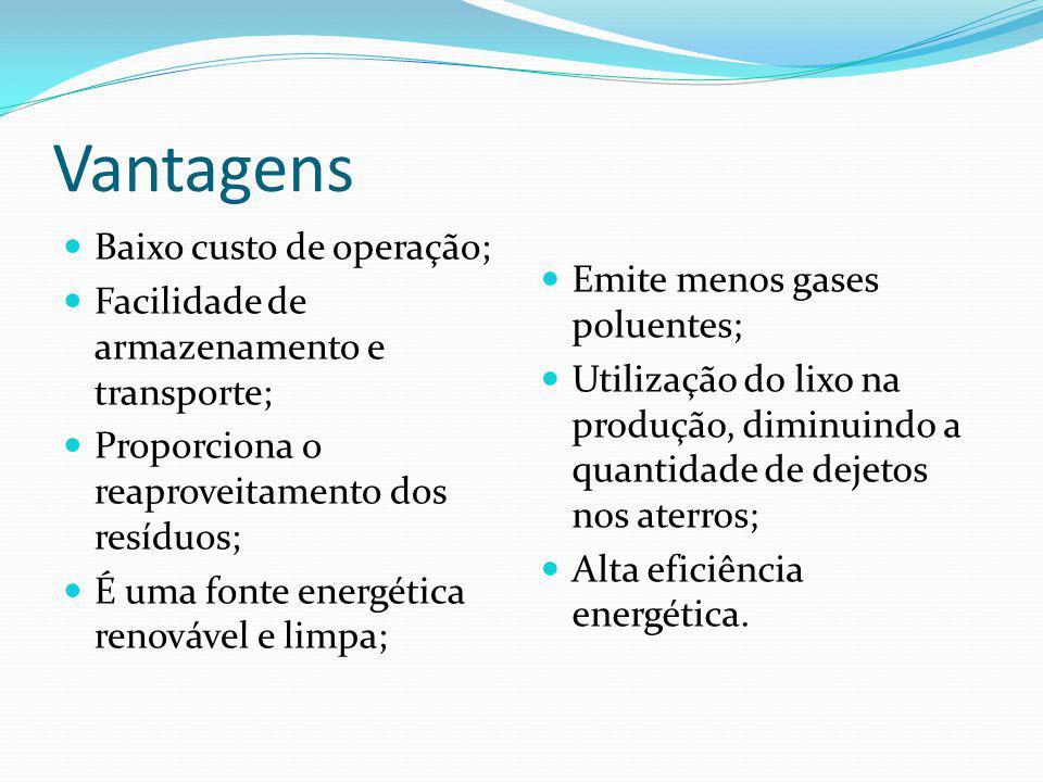 Vantagens Baixo custo de operação; Facilidade de armazenamento e transporte; Proporciona o reaproveitamento dos resíduos; É uma fonte energética renov