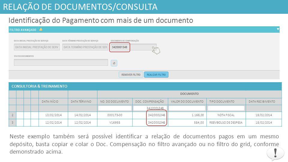Responsáveis RELAÇÃO DE DOCUMENTOS/CONSULTA CONSULTORIA & TREINAMENTO ANÁLISE DOCUMENTAÇÃO (N.F.,ANEXO 2, LANÇAMENTOS SISTEMA).INFORMAÇÕES PARA PAGAMENTO SITUAÇÃODATA DE CONFERÊNCIACONFERIDO POR:P.O.TIPO P.