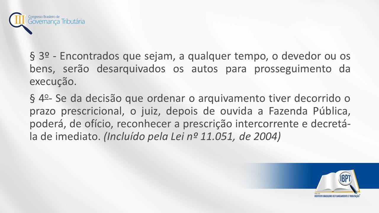 § 3º - Encontrados que sejam, a qualquer tempo, o devedor ou os bens, serão desarquivados os autos para prosseguimento da execução.