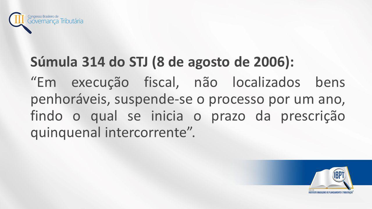 """Súmula 314 do STJ (8 de agosto de 2006): """"Em execução fiscal, não localizados bens penhoráveis, suspende-se o processo por um ano, findo o qual se ini"""