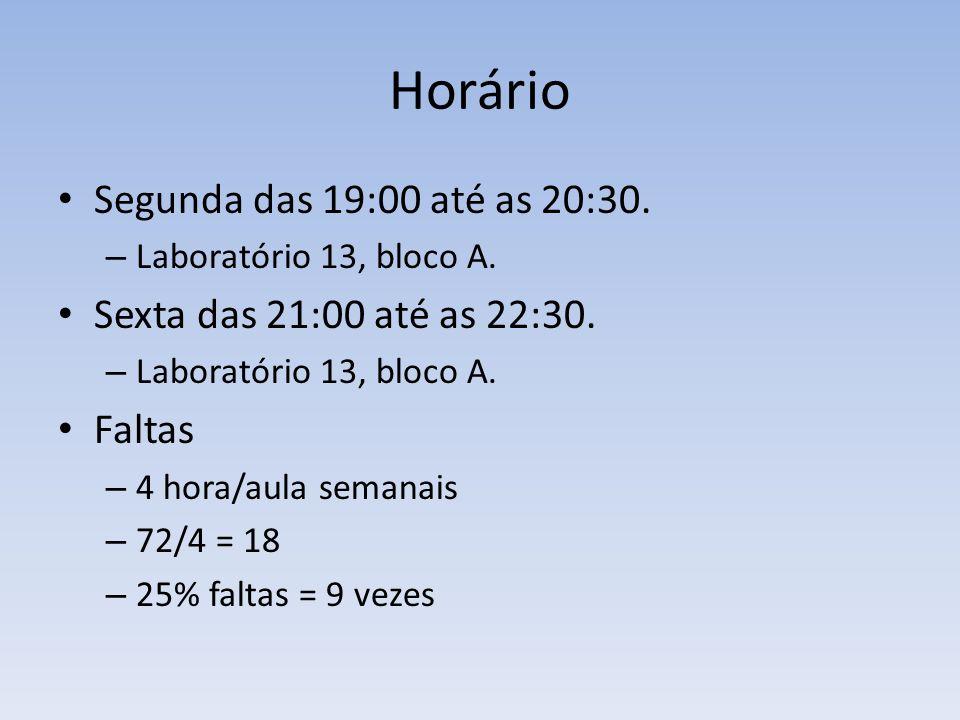 Horário Segunda das 19:00 até as 20:30. – Laboratório 13, bloco A. Sexta das 21:00 até as 22:30. – Laboratório 13, bloco A. Faltas – 4 hora/aula seman