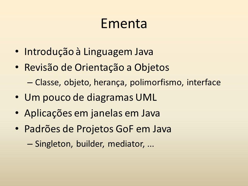 Ementa Introdução à Linguagem Java Revisão de Orientação a Objetos – Classe, objeto, herança, polimorfismo, interface Um pouco de diagramas UML Aplica